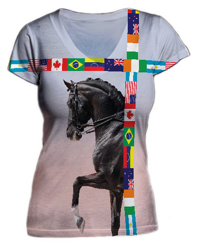 Dressage horse with flags