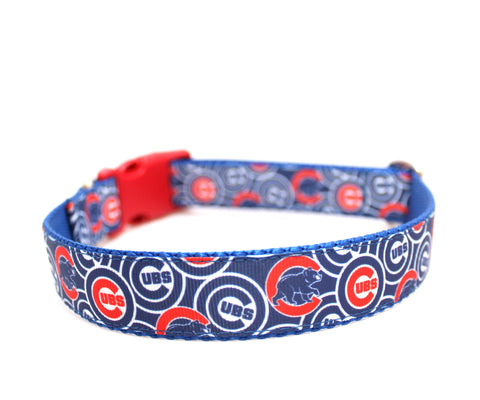 "1"" Chicago Cubs Dog Collar"