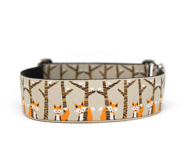 "1.5"" Fox in the Woods Dog Collar"