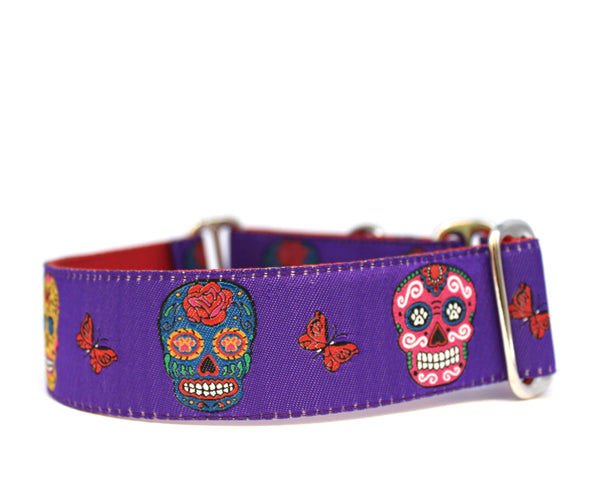 "1.5"" Sugar Skulls Dog Collar"
