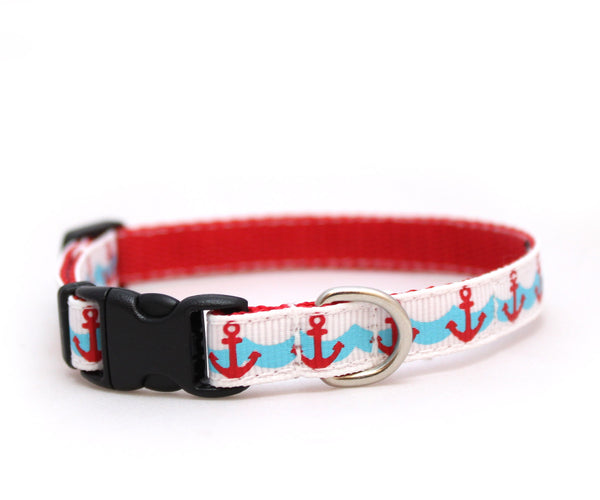 "3/8"" Little Sailor tiny dog or cat buckle collar"