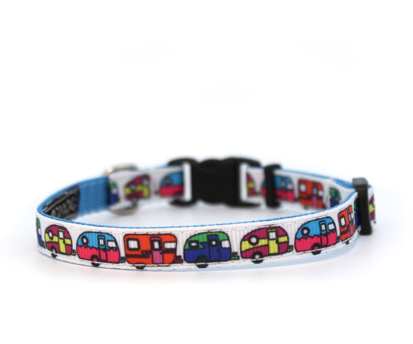 "3/8"" Happy Camper tiny dog or cat buckle collar"