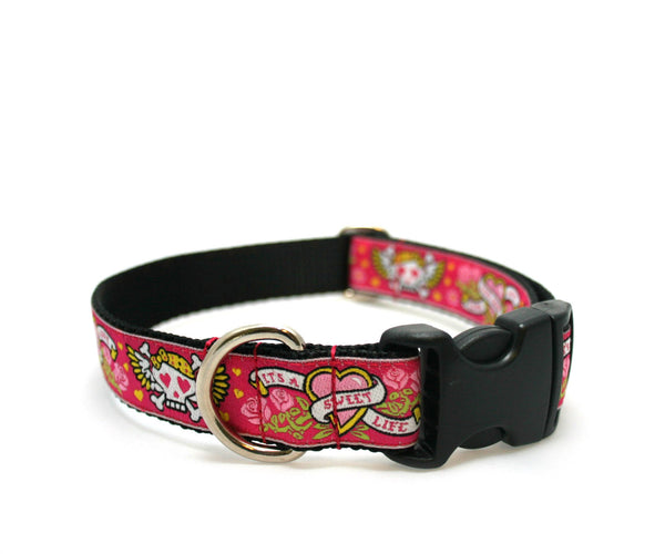 "1"" Tattoo Love Pink Dog Collar"
