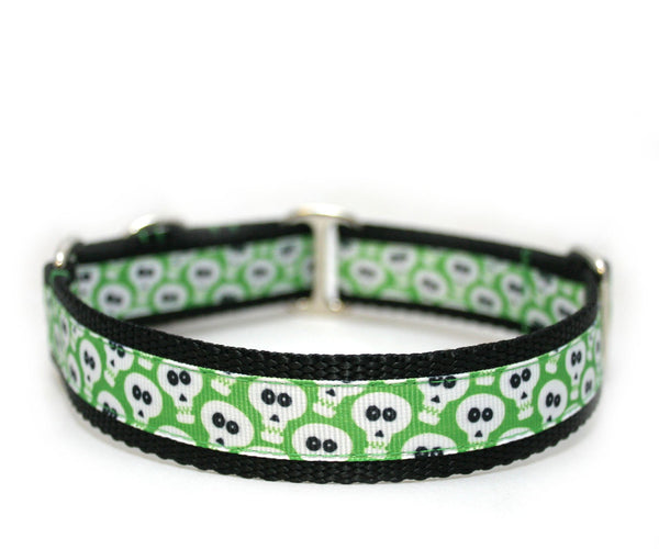 "1"" Goofy Green Ghouls Dog Collar"