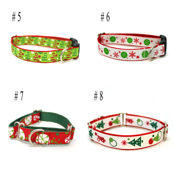 "3/4"" dog collar You Design It Christmas Winter martingale or buckle collar"