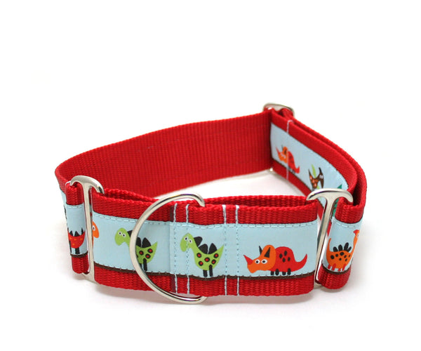 "2"" Dino Land Martingale Dog Collar"