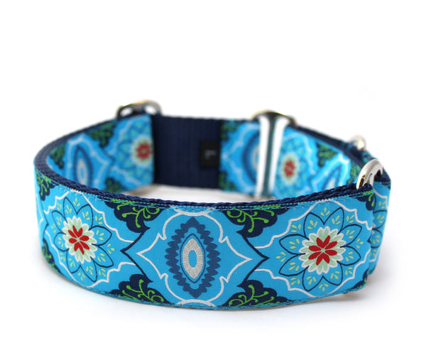 "1.5"" Marrakesh Market Blue Dog Collar"