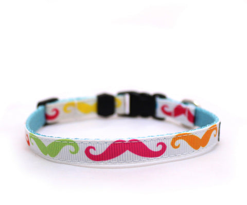 "3/8"" Milk Mustache tiny dog or cat buckle collar"