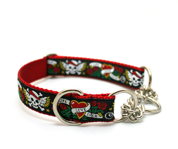 "1"" Tattoo Love Black Dog Collar"