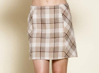 Tawny Plaid Mini Skirt