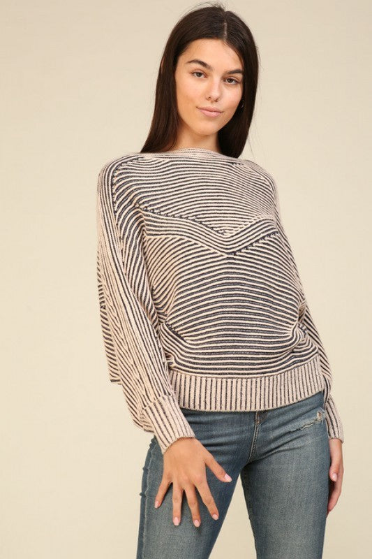 Graphic Stripe Texture Sweater