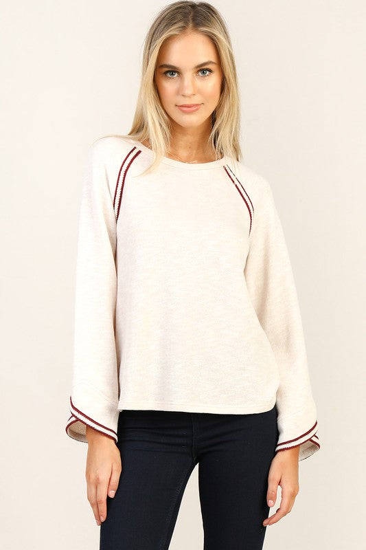 Braided Trim Tulip Sleeve Top