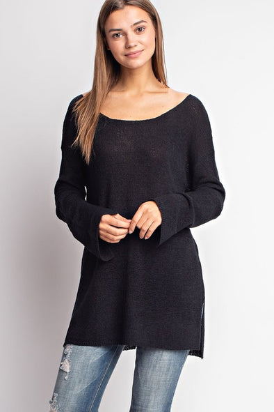 Slit Sleeve Lightweight Sweater