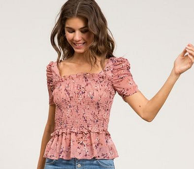 Cassie Floral Smocked Top
