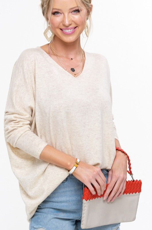Darla Dolman Cream Tunic Top