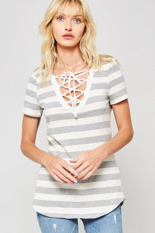 Sailor V Neck Lace Stripe Top