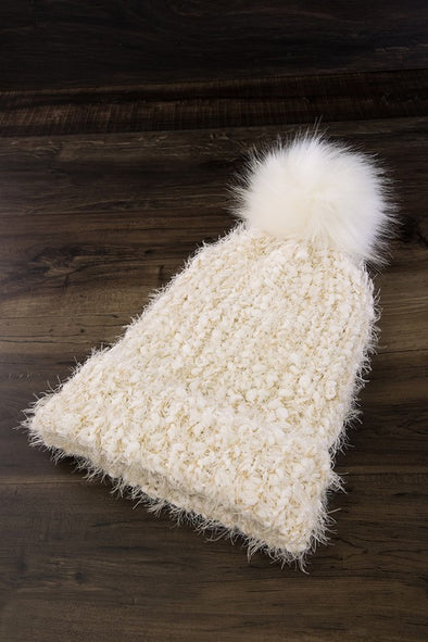 Eyelash Knit Pom Beanie Hat