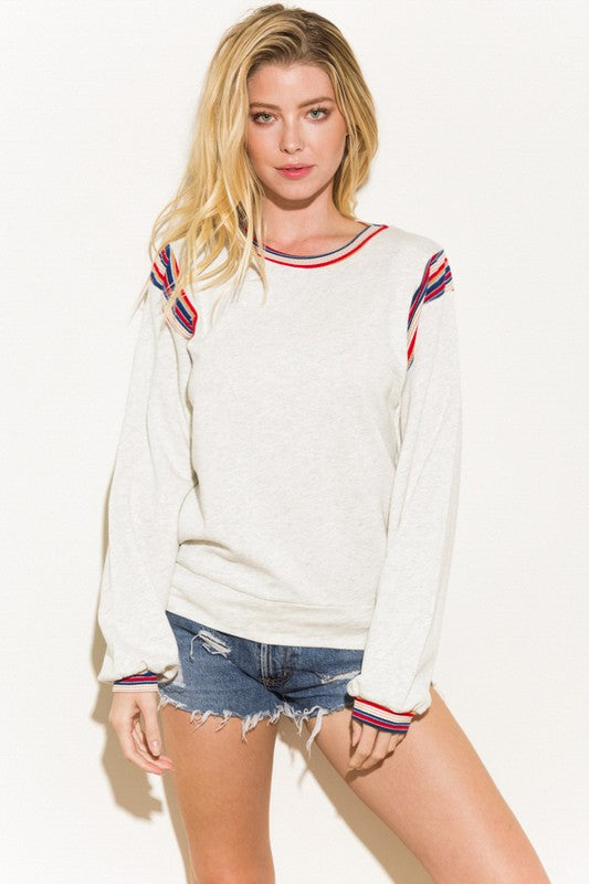 Heather French Terry Stripe Accent Top