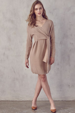 Front Tie Sweater Midi Dress