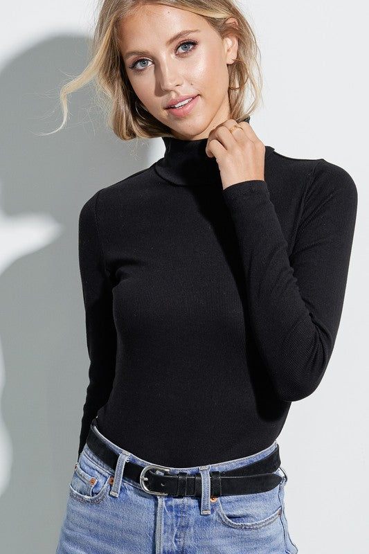 Fitted Side Slit Turtle Neck Sweater