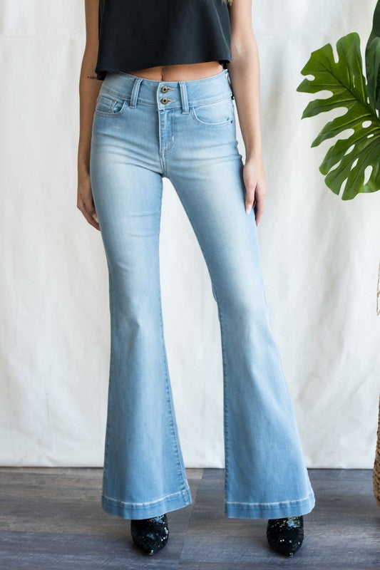 Jenny Light Wash Flare Denim