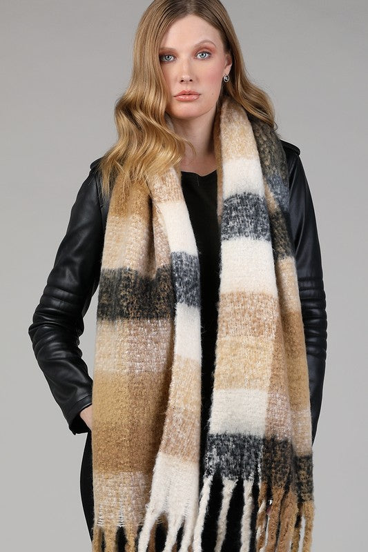 Brushed Oblong Fringe Scarf