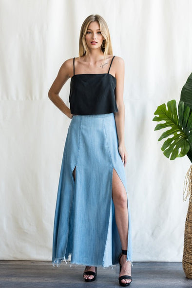 Charli Double Slit Chambray Maxi Skirt