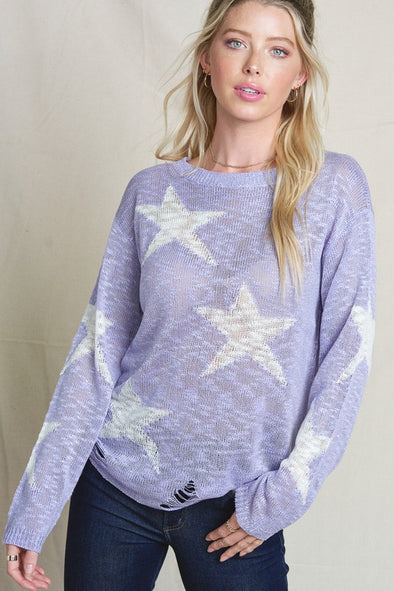Lavender Stars Knit Top