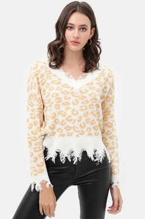 Lia Leopard Distressed Sweater