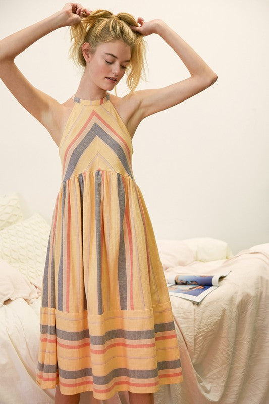 Carley Stripe Halter Dress