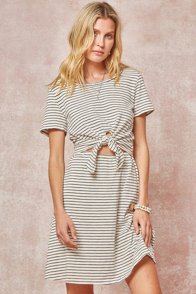 Shoreline Tie Front T-Shirt Dress