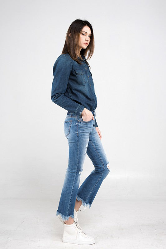 Sage Crop Flare Denim