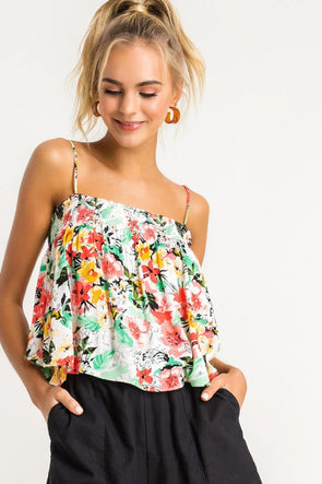 Miami Cami Floral Palm Top