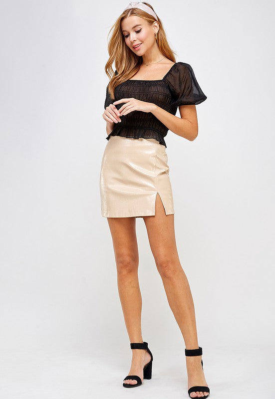 Pia Embossed Faux Leather Mini Skirt