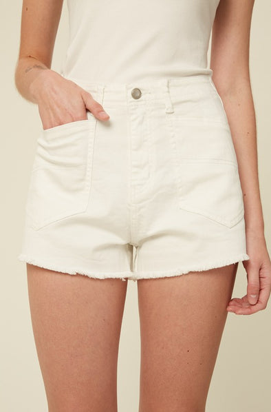 Fringe Hem White Denim Shorts