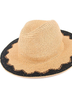 Lace Trim Panama Hat