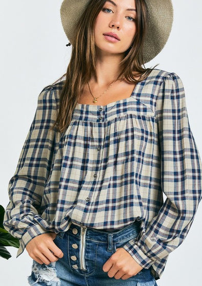 Gwen Peasant Plaid Top