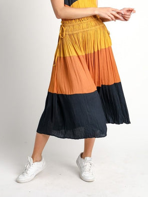 Color Block Crinkle Skirt