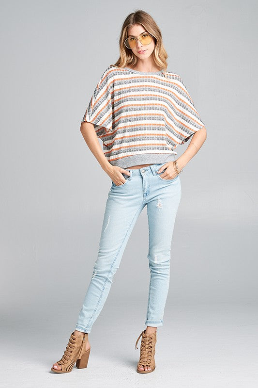 Striped Open Twist Back Top
