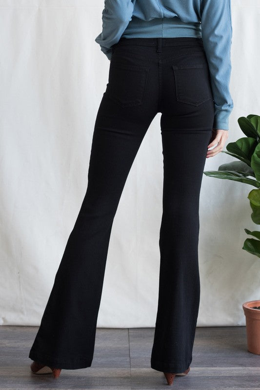 Black Double Button Flare Denim Jeans