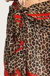 Red Line Leopard Print Scarf