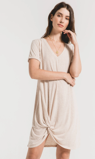 Triblend Side Knot Dress - Oatmeal