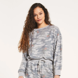 Elle Rose Camo Long Sleeve Pullover