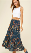 Teal Tiered Floral Skirt