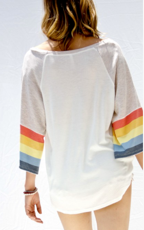 Rainbow 3/4 Bell Sleeve Top