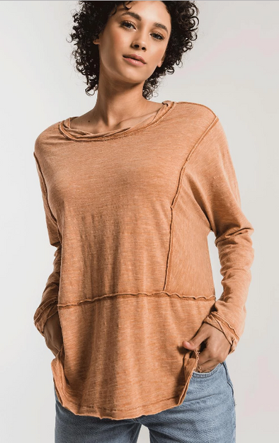 Airy Slub Long Sleeve Top
