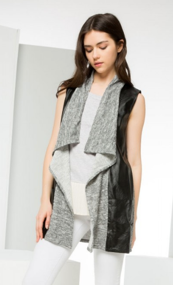 Contrast Leather Vest