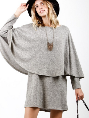 Heather Grey Cape Dress