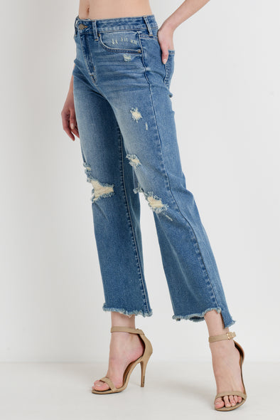 Distressed Crop Flare Denim Jeans