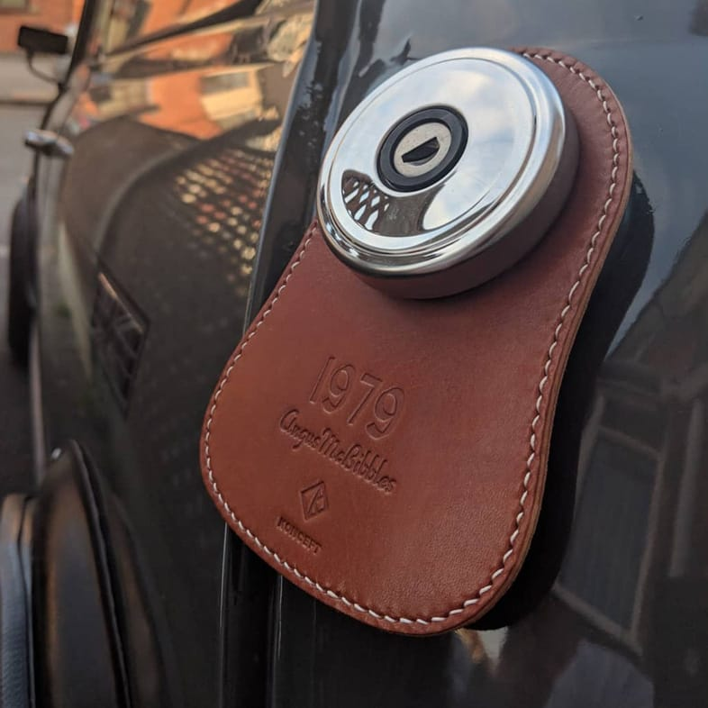 personalized leather fuel bib